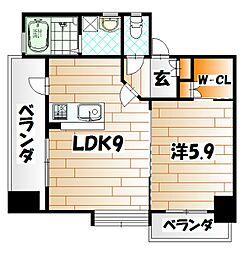 福岡県北九州市戸畑区新池1丁目の賃貸マンションの間取り