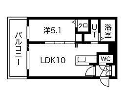 イルセントラレ南12条 1階1LDKの間取り