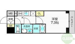 プランドール新大阪PARKレジデンス 9階1Kの間取り