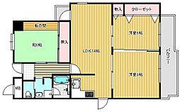 大阪府茨木市真砂2丁目の賃貸マンションの間取り