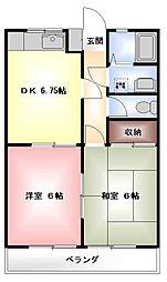 千葉県鎌ケ谷市東初富5丁目の賃貸アパートの間取り