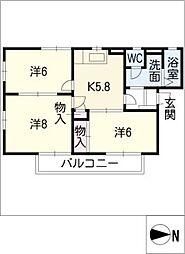 フレグランスUnuma C,D[1階]の間取り