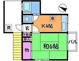 東京都調布市若葉町1丁目の賃貸アパートの間取り
