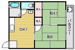 桜コーポ[2階]の間取り