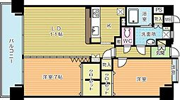 ニューリバー三萩野[13階]の間取り