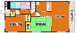 岡山県岡山市北区奥田2丁目の賃貸マンションの間取り