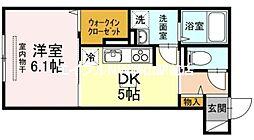 ウィングパレス津島笹が瀬 1階1DKの間取り