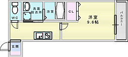 Osaka Metro御堂筋線 江坂駅 徒歩10分の賃貸アパート 2階1Kの間取り