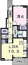 兵庫県神崎郡福崎町西田原の賃貸アパートの間取り