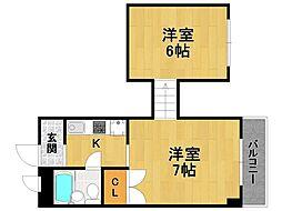 兵庫県伊丹市松ケ丘1丁目の賃貸マンションの間取り