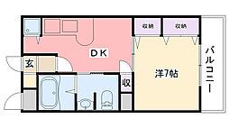 エスポワール若草[202号室]の間取り