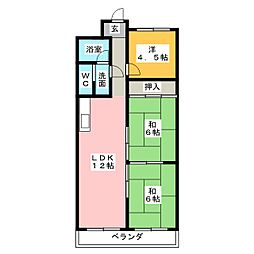 桜台ハイツ[4階]の間取り