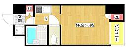 ベルシモンズ大阪港 8階1Kの間取り