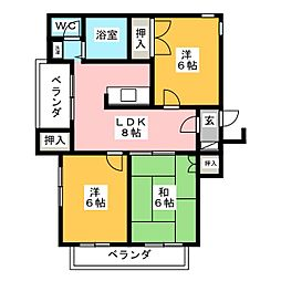 メゾンダムール正城[2階]の間取り