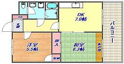兵庫県神戸市灘区上河原通4丁目の賃貸マンションの間取り