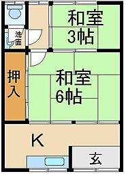 大阪府寝屋川市日新町の賃貸アパートの間取り
