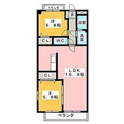 K'S KOUNOMIYA[5階]の間取り