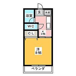 レオン竹の山[1階]の間取り