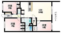 北大阪急行電鉄 緑地公園駅 徒歩10分の賃貸マンション 4階3LDKの間取り