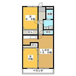 サンフェスタ・KATO C棟[2階]の間取り