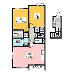 愛知県海部郡蟹江町桜2丁目の賃貸アパートの間取り