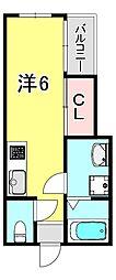 クレスト魚崎南 2階ワンルームの間取り