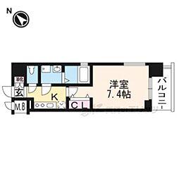 クリスタルグランツ京都西大路713 7階1Kの間取り