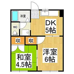 長野県松本市蟻ケ崎4丁目の賃貸アパートの間取り
