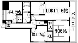 兵庫県伊丹市北野2丁目の賃貸マンションの間取り