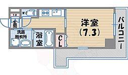 阪急神戸本線 西宮北口駅 徒歩1分の賃貸マンション 4階1Kの間取り