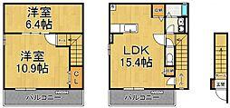 シェルティ西宮 2階1SLDKの間取り