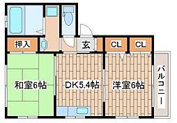 JR東海道・山陽本線 摩耶駅 徒歩9分の賃貸アパート 1階2DKの間取り