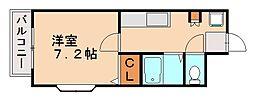 ホワイトシャトー大橋七番館[2階]の間取り