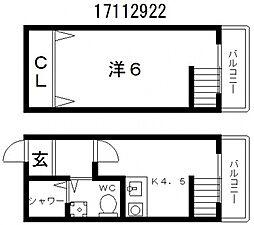 メトロ西田辺[1階]の間取り