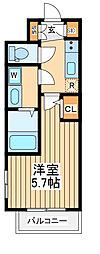 JR中央線 立川駅 徒歩20分の賃貸マンション 2階1Kの間取り