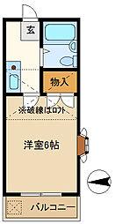 埼玉県越谷市千間台西6丁目の賃貸アパートの間取り
