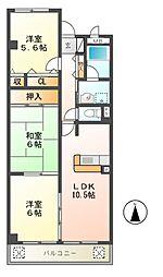 ソレーユ松村[3階]の間取り