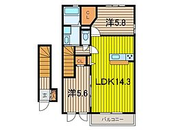 セリーヌコートW 2階2LDKの間取り