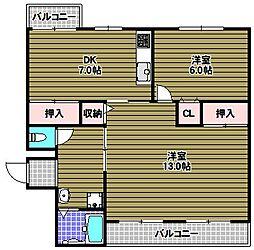 泉北槇塚台住宅4号棟[2階]の間取り