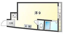 西田土地ビル 3階ワンルームの間取り