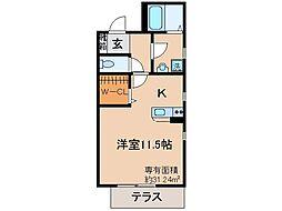 京都府城陽市寺田正道の賃貸アパートの間取り