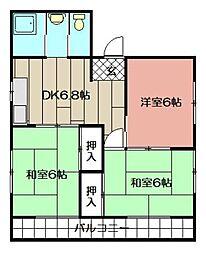 コーポ角田[201号室]の間取り