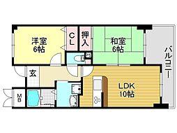 ラシーヌK[8O2号室号室]の間取り