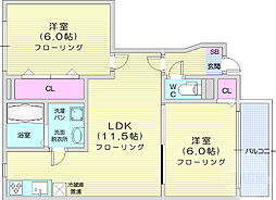 ニュークレストール上野山 1階2LDKの間取り