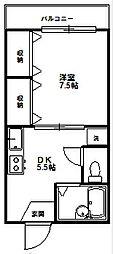 サンハニー駒沢[204号室]の間取り
