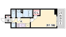 エスリード神戸ハーバーテラス 2階1Kの間取り