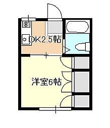 岡山県岡山市北区岡町の賃貸アパートの間取り