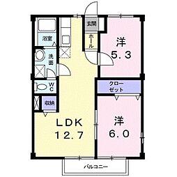 東京都八王子市平町の賃貸アパートの間取り