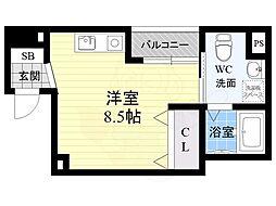 オリエントシティ・K 6階ワンルームの間取り