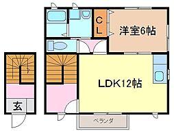静岡県富士宮市野中の賃貸アパートの間取り